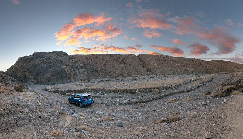 Panorama shot of sunrise from our camp in Marble Canyon