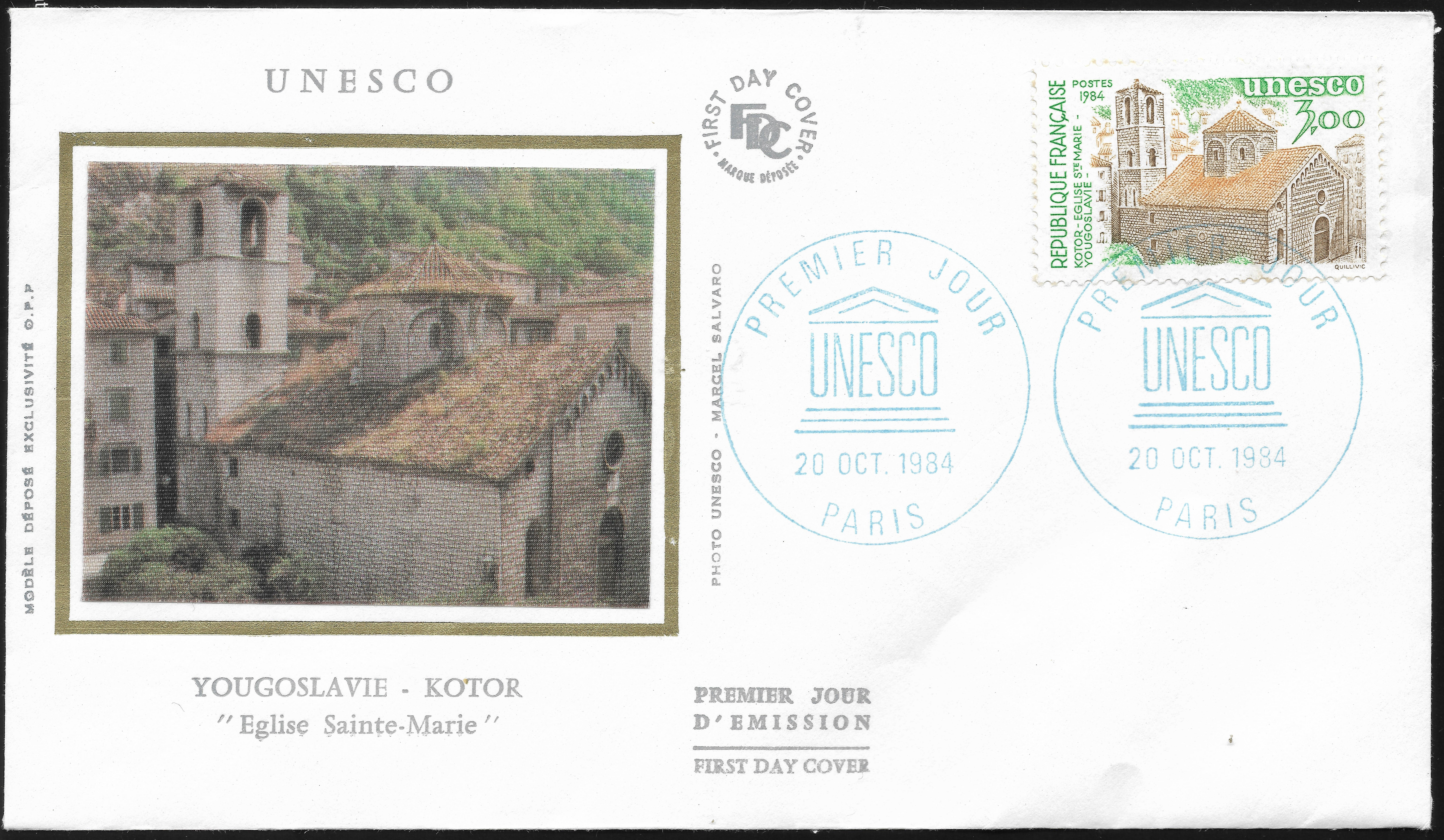 France Official Stamps for UNESCO - Scott #2O35 (1984) first day cover
