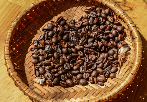 Coffee beans in the basket