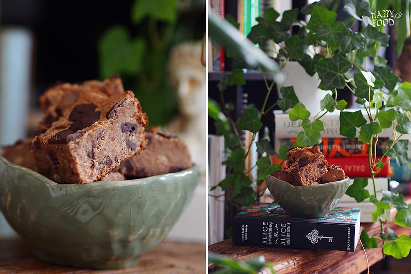 Веган пирог «Blondies » с нутом и шоколадом (без сахара, глютена и лактозы)