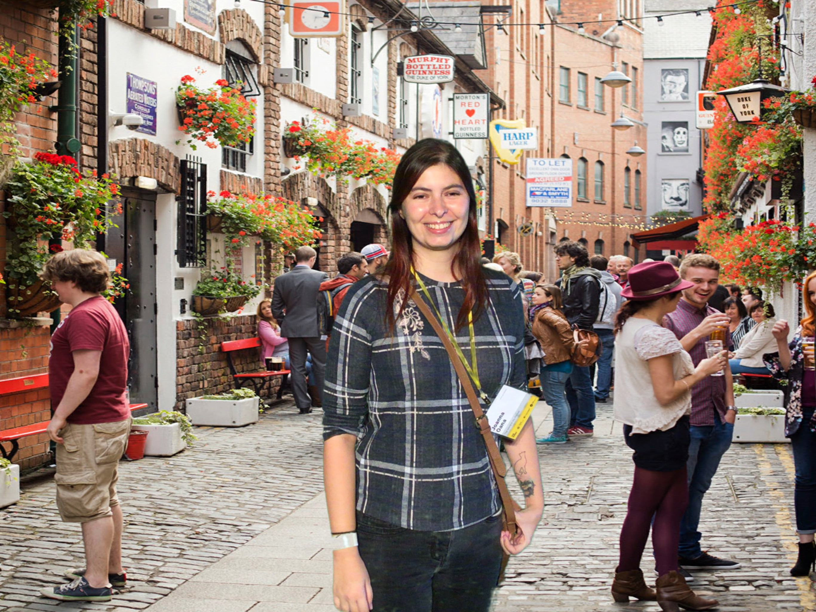 Virtual reality, a photo taken on a green screen with a background of a busy street in Belfast