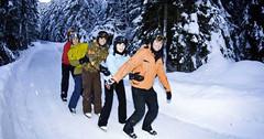 Ledová cesta pro bruslaře v Dolním Engadinu