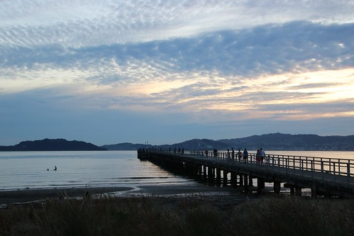 <p>Locals enjoy the last light of a beautiful summer day at Petone wharf on Wellington harbour.</p>