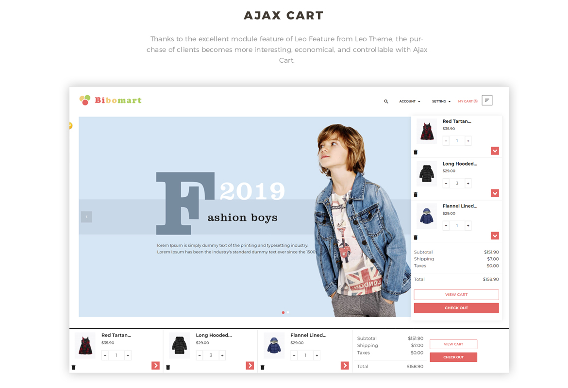 Ajax Cart-Leo Bibomart Prestashop theme for Baby and Kid Store