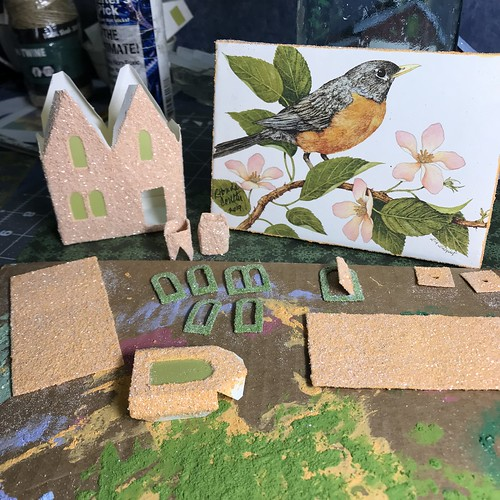 Robin greeting card and new putz house