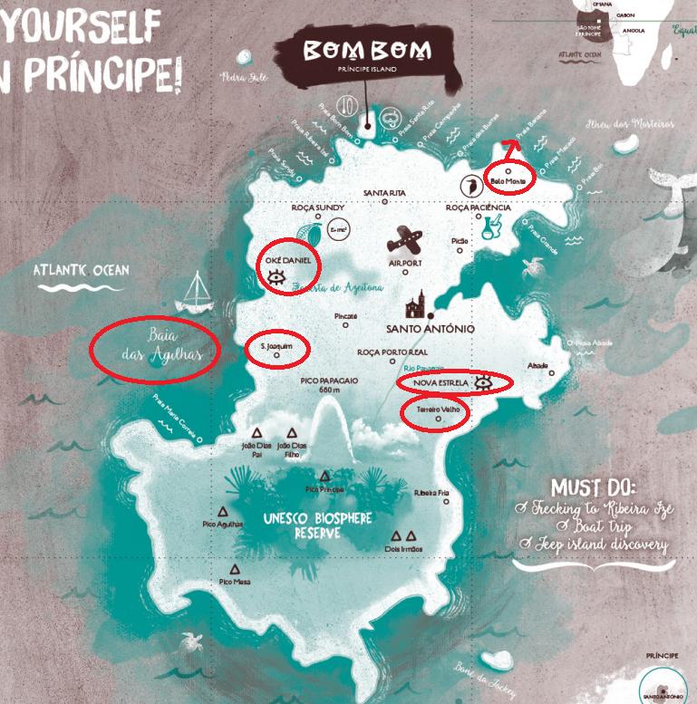 Mapa de la isla de Príncipe con los mejores miradores (y vistas) de la isla