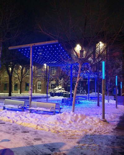 Blue at the 519 (1) #toronto #churchandwellesley #churchstreet #the519 #barbarahallpark #blue #lights #night