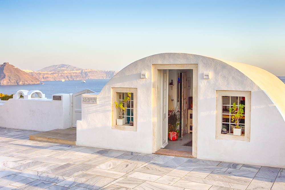 European Scenic Destinations. Pale Houses of Oia Village in Santorini in Greece.