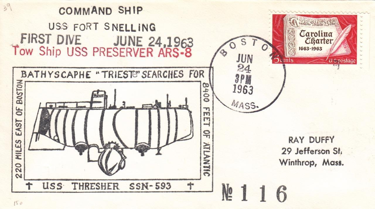 Cover marking the Trieste's search for USS Thresher in 1963.