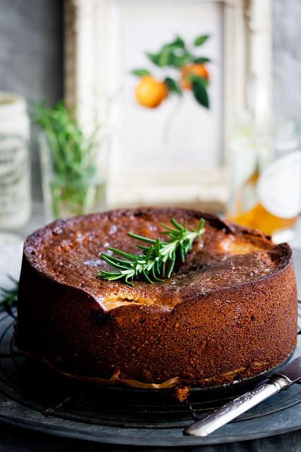 Rhubarb, Orange Marmalade & Rosemary Cake