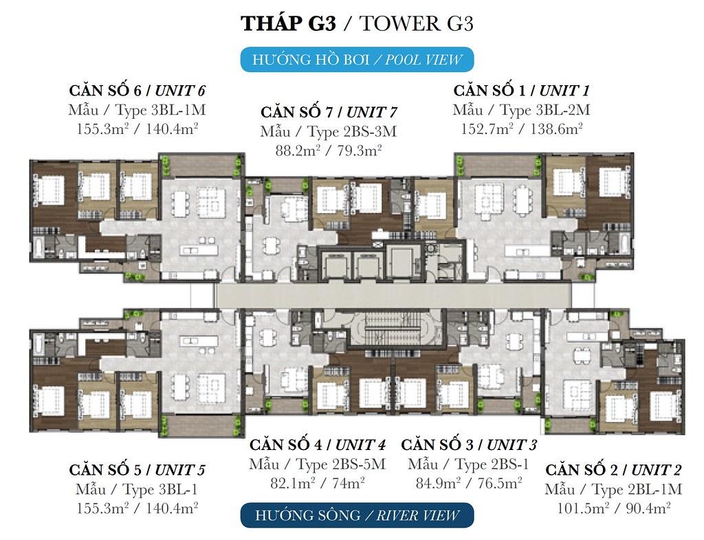 Mặt bằng tầng tháp G3