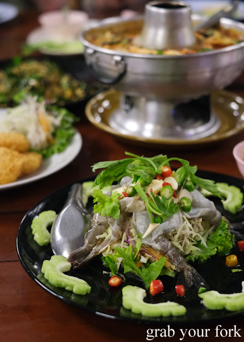 Raw prawn salad at Baan Khao Lak Seafood Restaurant in Thailand