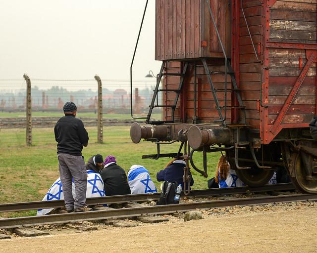 Uno de los vagones de presos judíos en Auschwitz