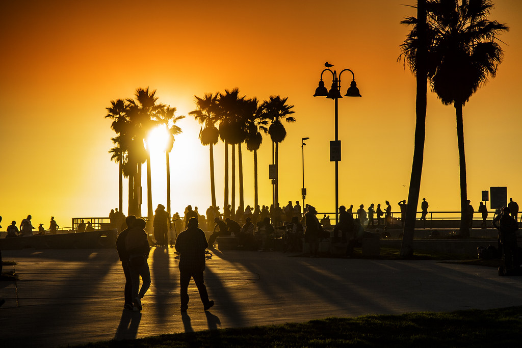 Venice Beach Action At Sunset, LA