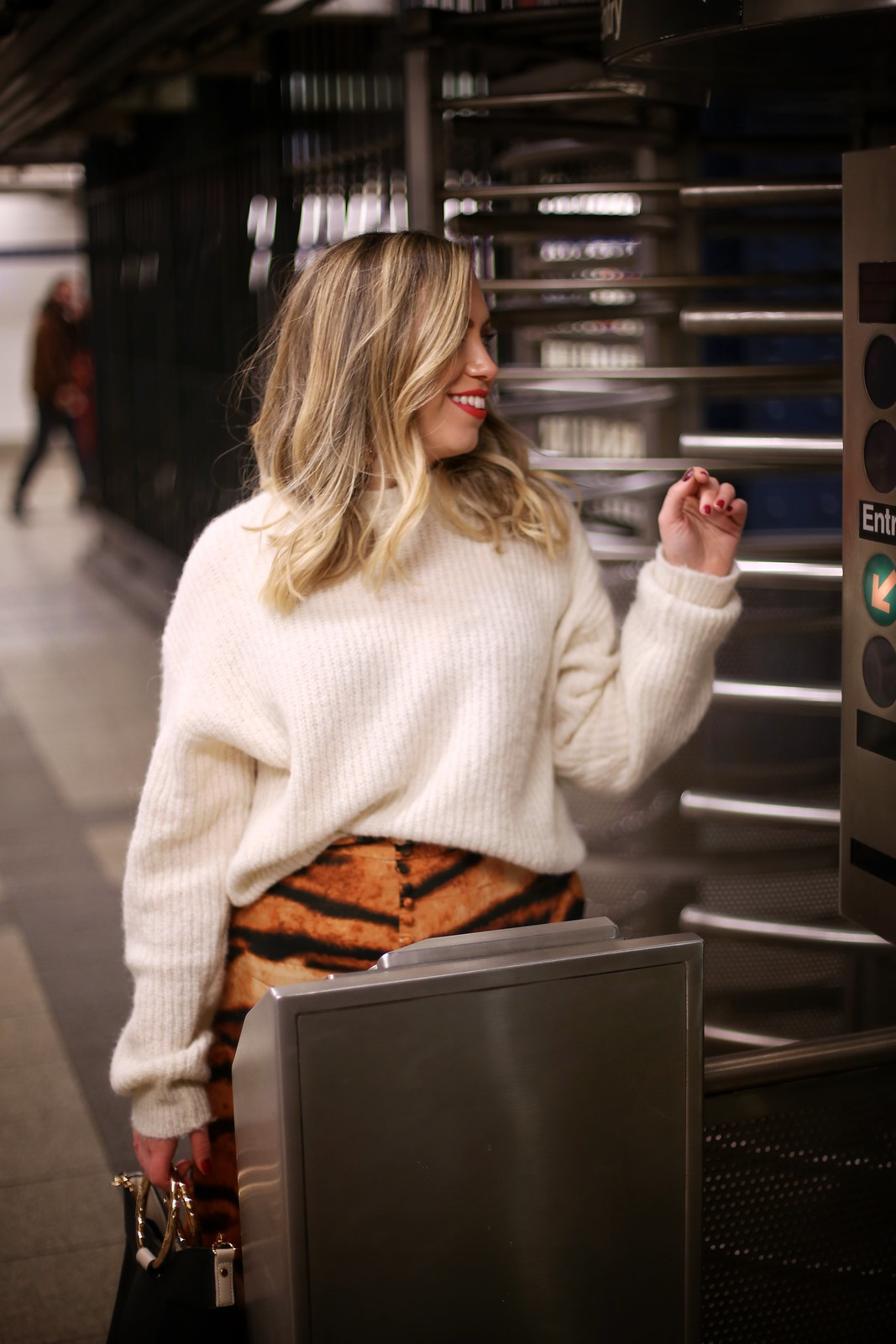 White Reformation Finn Sweater ASOS Orange Tiger Print Skirt Winter Outfit Canal Street Subway Turnstile Fashion Photo Shoot
