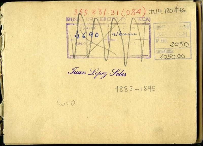 Sello de Juan López Soler. Álbum con fotografías de Toledo hacia 1890. Fototeca del Museo del Ejército, signatura MUE 120476