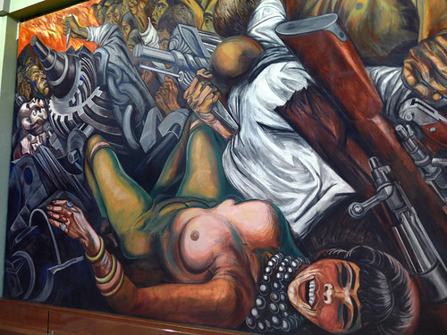 Murals by Rivera on an upper floor in the Palacio de Bellas Artes, Mexico City