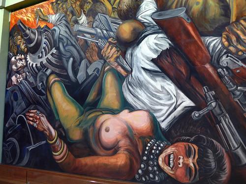 Murals by Rivera on an upper floor in the Palacio de Bellas Artes, Mexico City