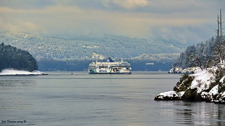 BC Ferries' 'Coastal Celebration' comes around Helen Point at the south entrance to a wintry Active Pass - 13 February 2019 [© WCK-JST]