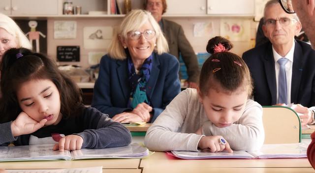 Déplacement de la rectrice et de l'Ia-Dasen du Rhône à l'école élémentaire Max Barel de Vénissieux