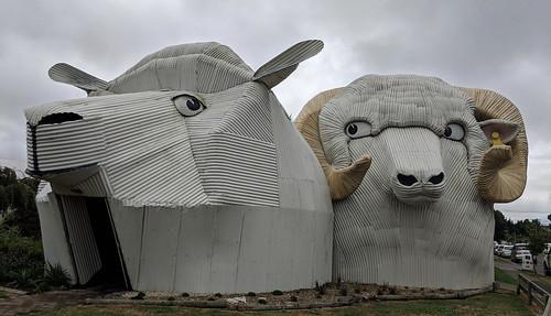 Corrugated iron sheep, Tirau, New Zealand