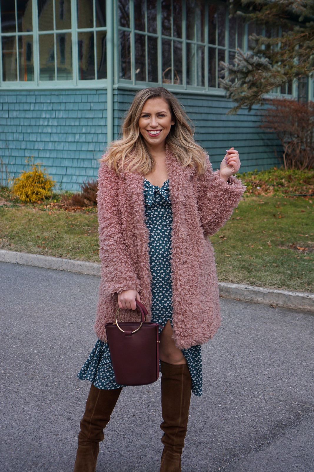 Francesca's Green Floral Midi Dress Mauve Teddy Coat Chicwish Brown Boots Valentine's Day Outfit