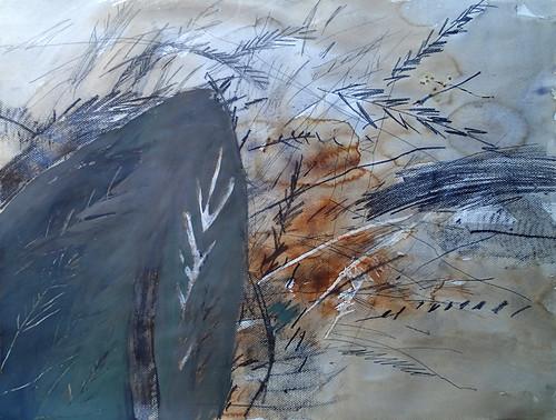 Fossil in Pencil & Watercolour & Acrylic