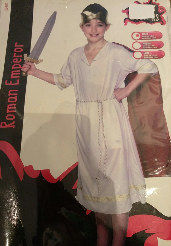 FANCY DRESS KIDS ROMAN EMPEROR COSTUME WHITE TOGA WITH RED SHAWL CEASER GREEK