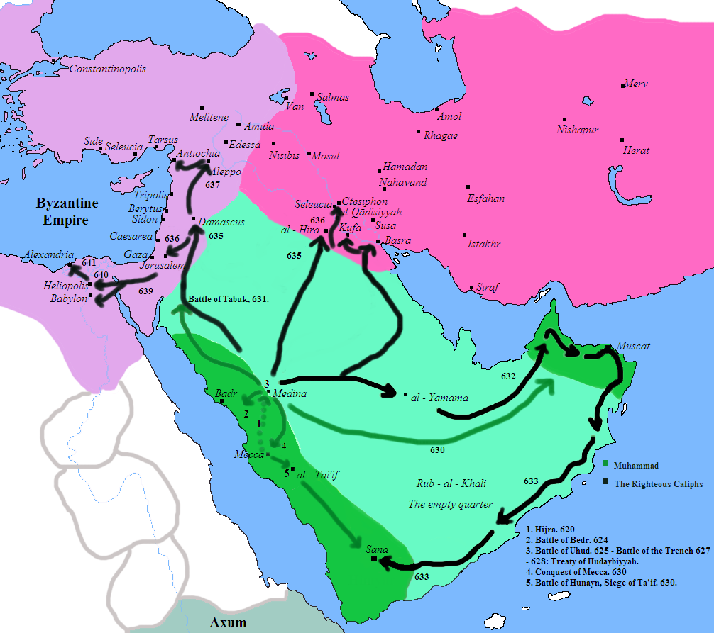 Conquests of Muhammad (green lines) and the Rashidun caliphs (black lines). Shown: Byzantine empire (North and West) & Sassanid-Persian empire (Northeast).
