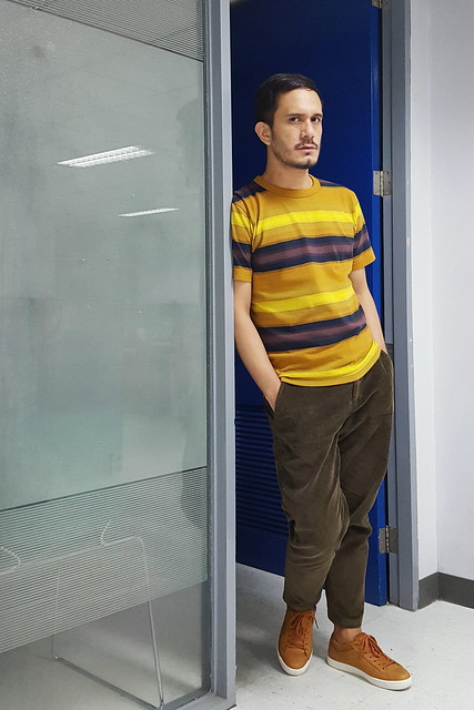halfwhiteboy - striped shirt and corduroy pants 02