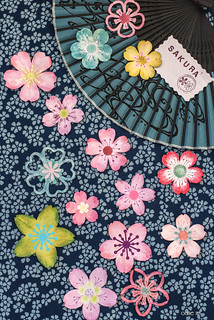 Paper flowers on a Japanese fabric...
