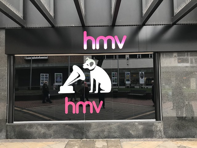 HMV logo and sign, 13-15 Smithford Way, Coventry