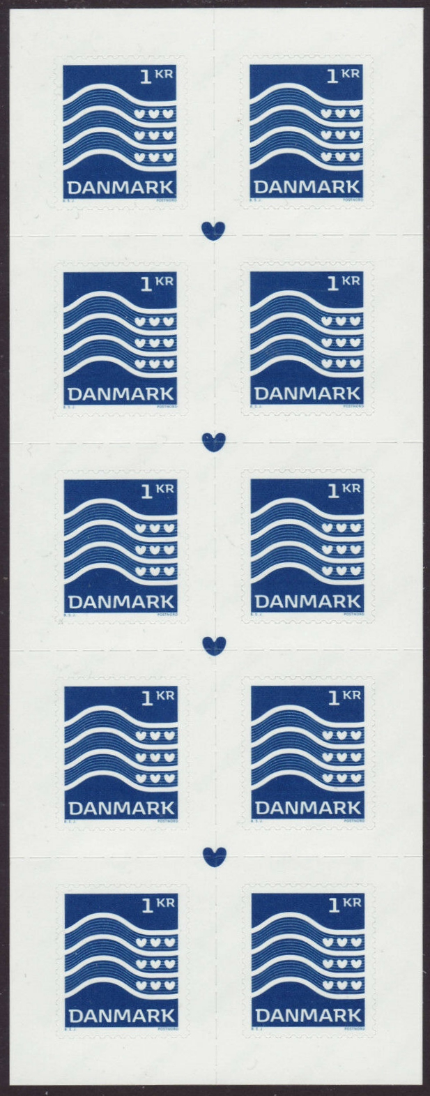 Denmark - Wavy Lines & Hearts definitive (January 2, 2019) booklet pane of 10