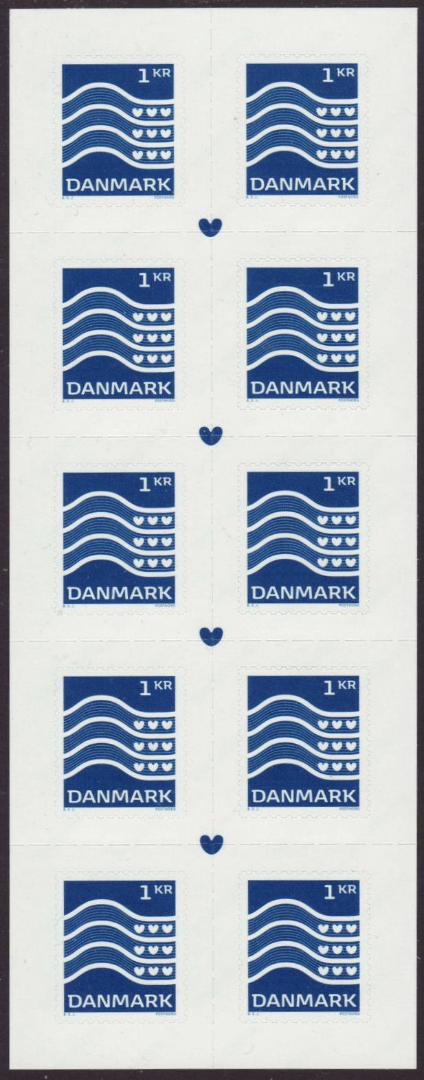 Denmark - Wavy Lines & Hearts definitive (January 2, 2019) booklet pane of 10