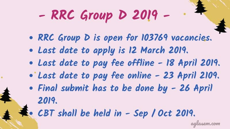 RRC Group D 2019 Application Form