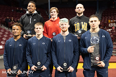 1st Place - Mark Hall of Penn State1st Place - Jason Nolf of Penn State1st Place - Bo Nickal of Penn State1st Place - Anthony Cassar of Penn State1st Place - Myles Martin of Ohio State1st Place - Joey McKenna of Ohio State1st Place - Alex Marinelli of Iow