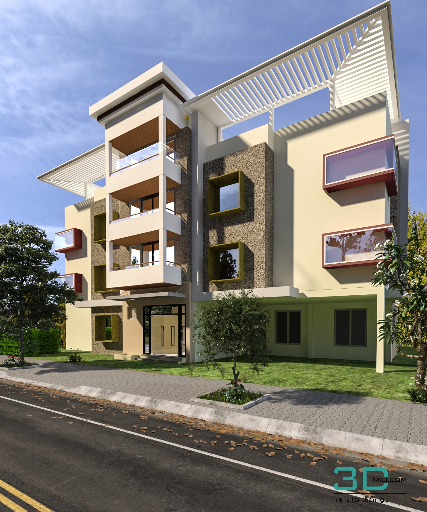 Commercial Building Design And Render In 3d Max With - free download 3d models 3d max