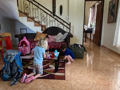 The twins play in our villa in Ubud in Bali early in our first morning