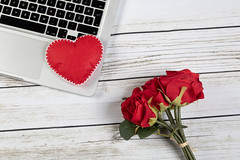Red roses on laptop
