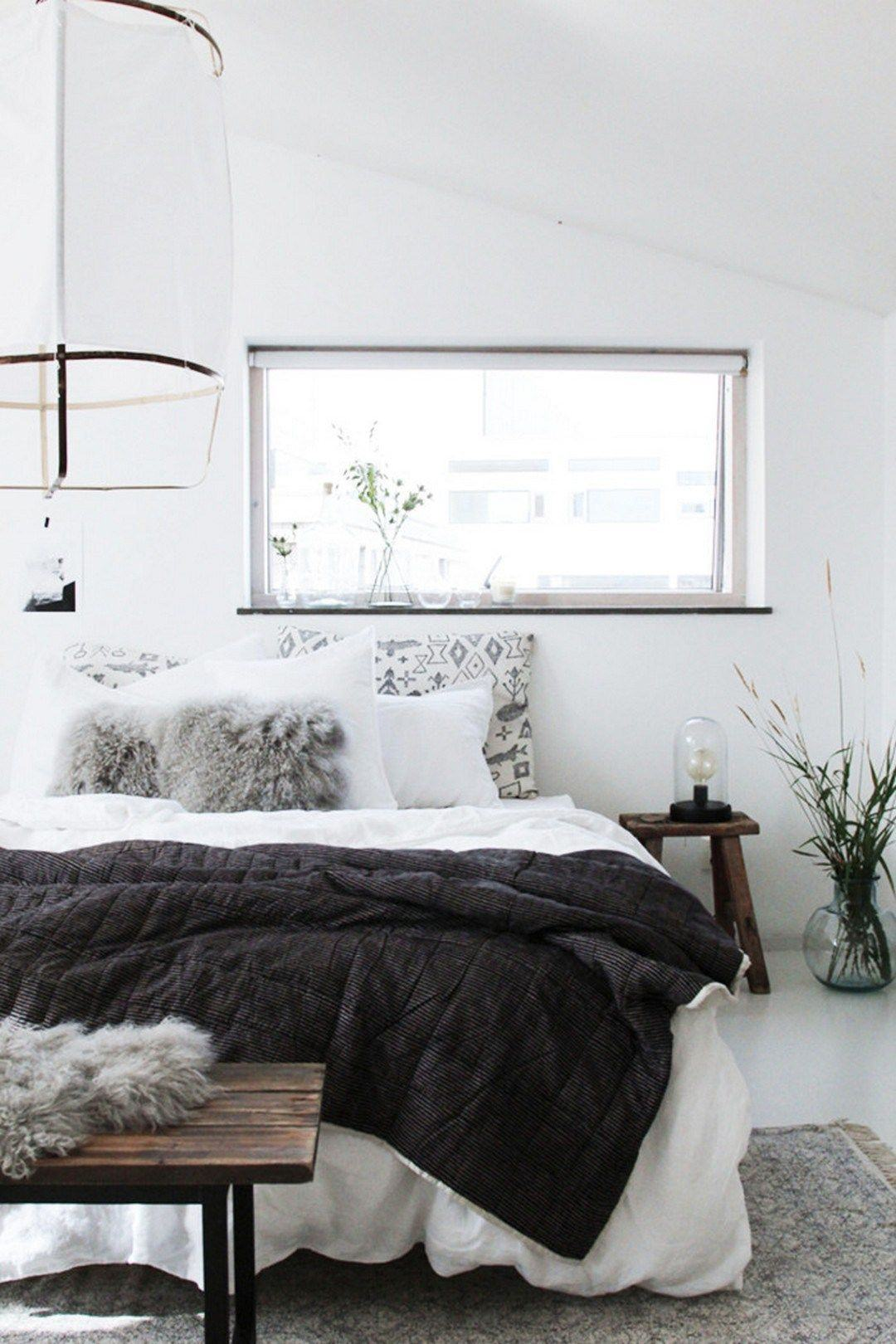 Scandinavian Bedroom Inspiration White Black Fluffy Cozy Bedding Minimalist