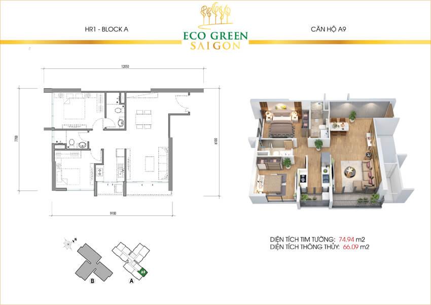 Mặt bằng căn hộ 2 phòng ngủ loại A9 dự án Eco-Green Sài Gòn quận 7.