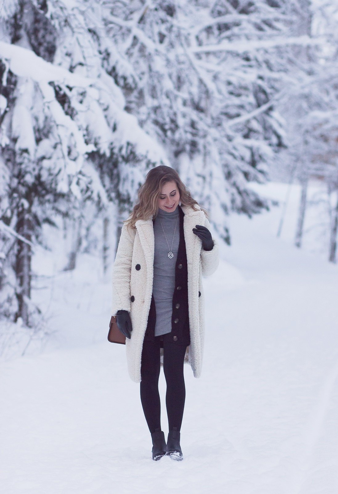 white teddy coat outfit
