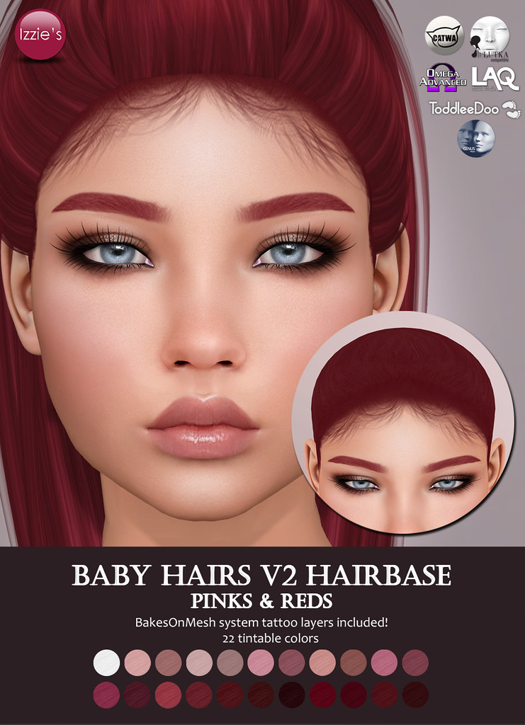 Baby Hairs V2 Hairbase (Pinks & Reds) for FLF