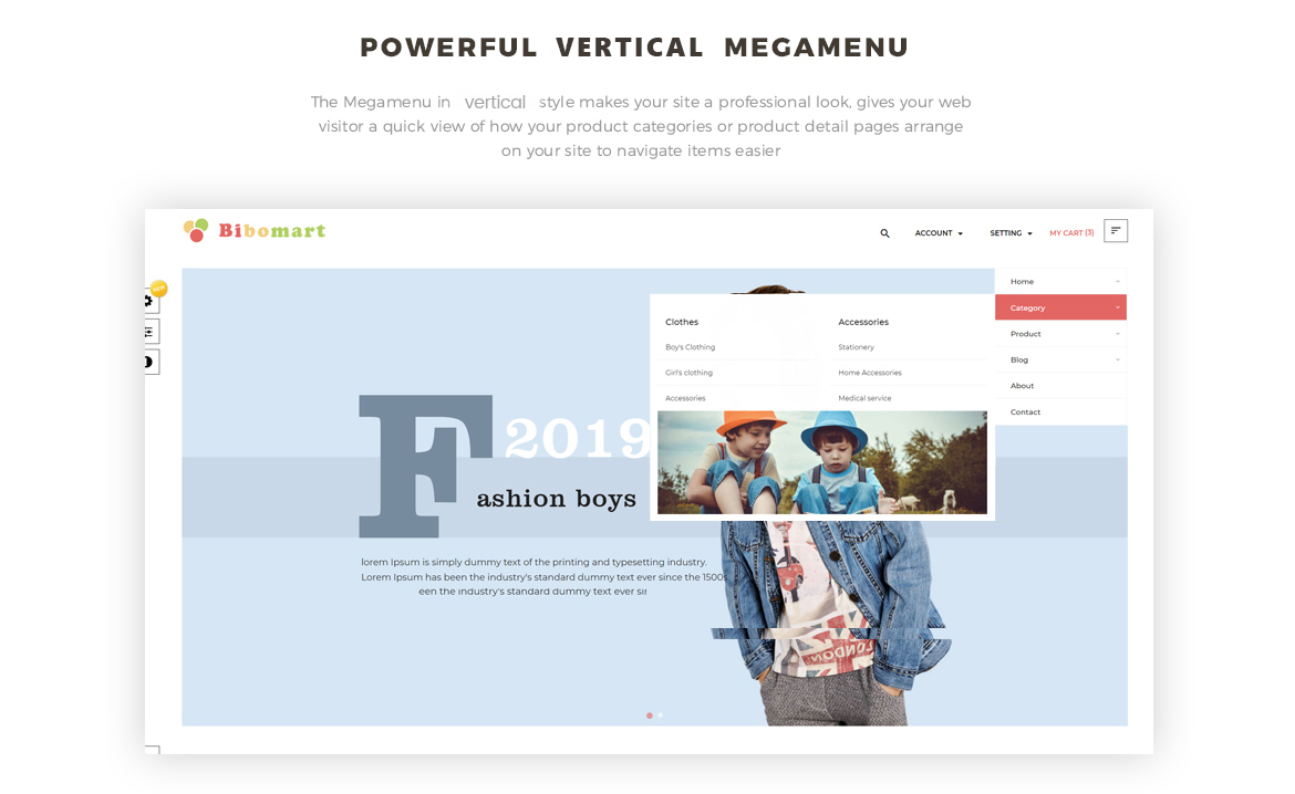 Vertical mega menu - Leo Bibomart Prestashop theme for Baby and Kid Store