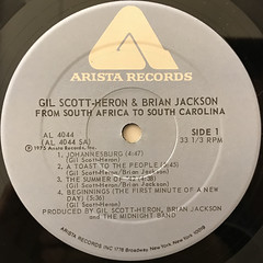 GIL SCOTT-HERON AND BRIAN JACKSON:FROM SOUTH AFRICA TO SOUTH CAROLINA(LABEL SIDE-A)