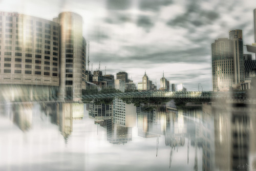 melbourne city art upsidedown yarrariver victoria bridge water reflection clouds town southbank