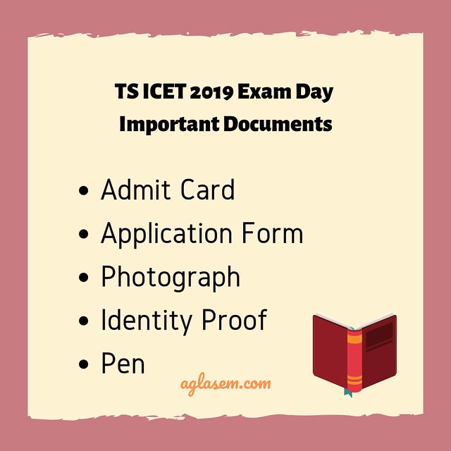 TS ICET 2019 Exam Day Important Documents