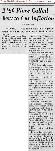 Harry X Boosel article 2 12 cent piece Chicago Daily News April 1, 1974