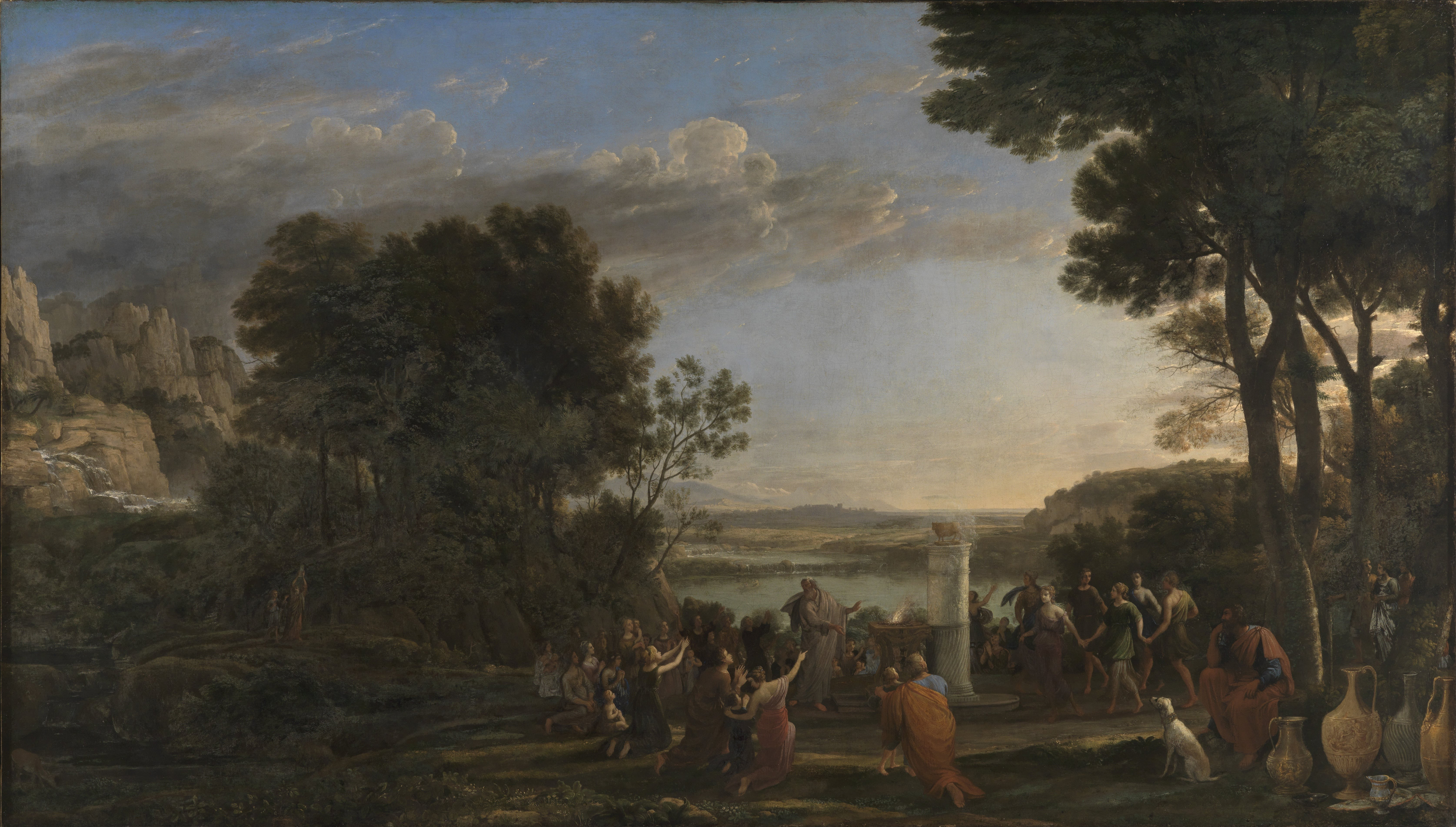 Worship of the Golden Calf by Claude Gellée, called Le Lorrain, Oil on canvas, 1653. Currently in the collection of Staatliche Kunsthalle in Karlsruhe, Germany.