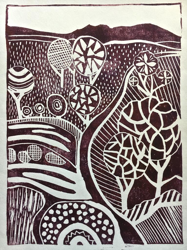Linoprint landscape (1)